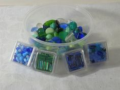 New Glass Beads Blue & Green DESTACH Loose   by LavenderGardenCottag