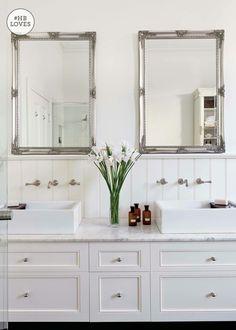 french Bathroom Decor Designing a vintage-style bathroom - Homes, Bathroom, Kitchen amp; All White Bathroom, French Bathroom, Small Bathroom, Family Bathroom, Bathroom Ideas, Craftsman Bathroom, Modern Craftsman, Bathroom Closet, Bathroom Modern