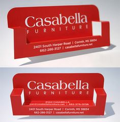 Post image for Casabella Furniture's Business Card_This clever folding business card is made for Casabella Furniture. The red color makes the card more attractive as if it wasn't eye catching enough that it transforms into a lounge seat.