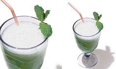 Suco de abacaxi, hortelã e clorofila