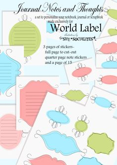 FREE Labels for Journal Notes and Thoughts Printable Lables, Printable Paper, Free Printables, Journal Labels, Journal Cards, Smash Book, Scrapbook Cards, Digital Scrapbooking, Paper Crafts