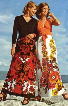 Models in floral maxi-skirts, 1973.