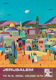 El Al Travel Poster - Jerusalem, ca 1960s, by Peri