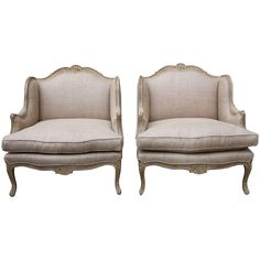 Pair of French Carved Painted Bergeres, circa 1940 | From a unique collection of antique and modern chairs at https://www.1stdibs.com/furniture/seating/chairs/