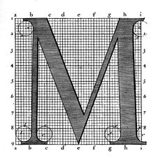 This character was created in the late 1600's and was commissioned by King Louis XIV.  This example of the Romain du Roi typeface can be identified by the serifs and unique weight of the strokes.  The grid reflects later variations of the font, the Pied de Roi.  It was broken down into 72 points and paved the way for the font sizes we use today.