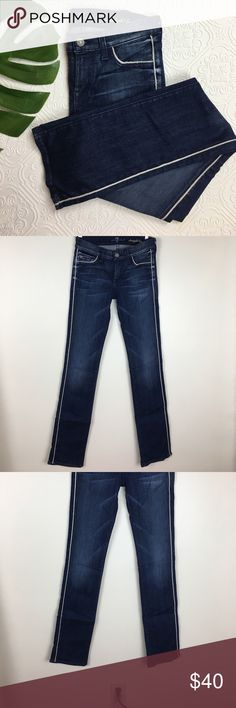 "7FAM Straight Leg Jeans Inseam:33"" Excellent condition. Side piping detail on outer leg and front pockets. Straight Leg, 2% spandex 7 For All Mankind Jeans Straight Leg"