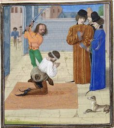 English: The execution of Robert Tresilian, as depicted in Jean Froissart's Chroniques. Date15th century