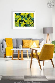 Geometric art style is a mixed media art of lines and shapes with beautiful green and yellow tones give to this artwork space for inspiration.