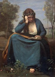 """Reader Crowned with Flowers (Virgil's Muse)"" in 1845 by Jean Baptiste Camille Corot (Paris 1796 -1875) Oil on canvas. Musee du Louvre. Corot was the leading painter of the Barbizon school. Art movement towards realism in art, which arose in the context of the dominant Romantic Movement of the time. He is a pivotal figure in landscape painting and his vast output simultaneously references the Neo-Classical tradition and anticipates the plein-air innovations of Impressionism."