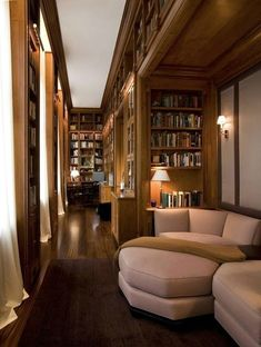 Cozy Home Library Interior Idea It is easier to make your own home interior design rather than buying all items for the design. First, surely you will not have to spend a lot budget to design your home interior. Cozy Home Library, Dream Library, Home Library Design, Library Ladder, Beautiful Library, Beautiful Homes, Le Living, Living Rooms, Home Libraries