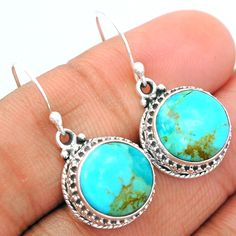 Blue Turquoise From Arizona 925 Sterling Silver Earrings Jewelry BMTE596 - JJDesignerJewelry