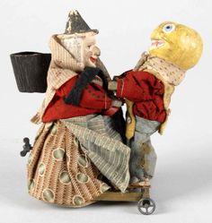 Halloween German wind-up toy, witch & JOL veggie man.