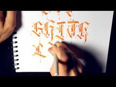 Parallel Pen Calligraphy - G - O Caps Calligraphy Video, Calligraphy Tutorial, Japanese Calligraphy, Calligraphy Alphabet, Tattoo Lettering Fonts, Fancy Fonts, Beautiful Fonts, Penmanship, Black Letter