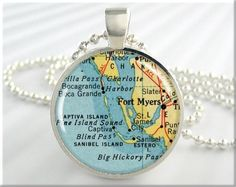 Fort Myers Map Necklace Resin Pendant Charm Fort Myers Florida Travel Map Picture Pendant (529RS)