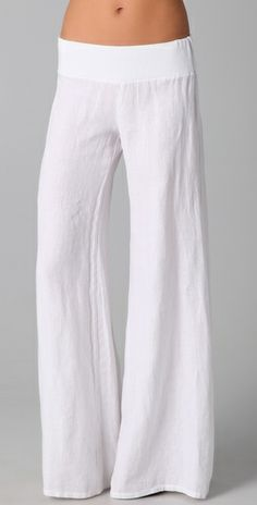 Linen Linen Linen  Great idea for top of pants made of knit fabric.  I can make these for under $20.