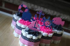 Navy and Pink Baby Shower - diaper cakes - available on etsy