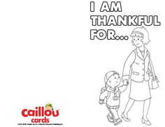 Caillou: Happy Thanksgiving Printable Card – Family!