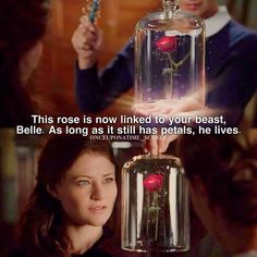 """This made so many of my little girl Disney dreams come true, but my sister wins the award for best comment of the night: Belle: """"Cool...any reason it couldn't be a practical portable size like a necklace or a watch or something...I miss Rumple's useful magic"""""""