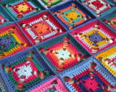 Mini Granny Squares BLANKET Afghan In Stock 70 x by Thesunroomuk
