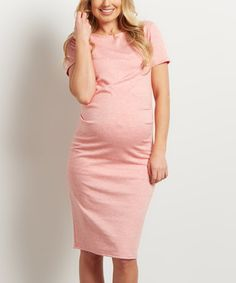 f15c82c958612 Look what I found on #zulily! PinkBlush Coral Scoop Neck Maternity Bodycon  Dress #