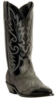 LAREDO MENS GREY WITH BLACK WINGTIP POINTED TOE COWBOY BOOTS