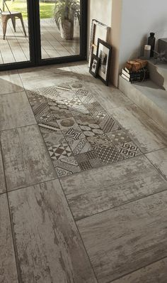 Love this tile for the shower. can frame it in white washed wood tile on one wall and just have white washed wood on the other wall with the darker shade of wood on the floor continuing into bedroom. Floor Design, Tile Design, House Design, Interior Decorating, Interior Design, Floor Patterns, Kitchen Flooring, Flooring Tiles, Cement Tiles