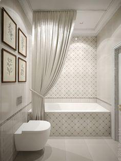 Светлая ванная комната с ацентной плиткой с геометричным узором.