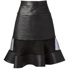 DAVID KOMA sheer panel leather skirt found on Polyvore