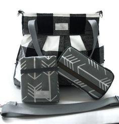 Diaper Bag Gift Set - Black Plaid Diaper Bag - Travel Pad - Wipes Case - Messenger Strap
