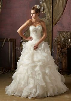 organza ball gown beading sweetheart floor-length with ruffles wedding dress - Wegodress.com