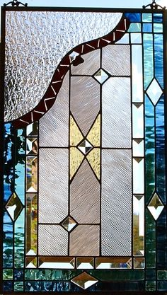 Stained Glass Window Panel SW Design w Fused Glass Insert
