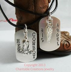 Her Cowboy His Angel Sterling Silver Dog Tag Set - His and Her Stamped Silver Necklace Set - Couple Jewelry from CharitableCreations on Etsy. Couple Necklaces, Couple Jewelry, His And Hers Necklaces, Hamsa Necklace, Necklace Set, Jewelry Gifts, Fine Jewelry, Dog Jewelry, Diamond Solitaire Necklace