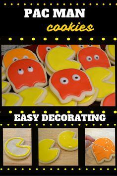 Easy tutorial for Pac Man 80s Royal Icing Cut Out Sugar Cookies. DIY Party Foods / Deserts...by PartyMajors