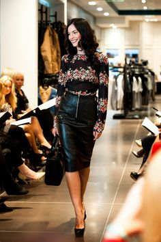 Leather pencil skirt and floral blouse