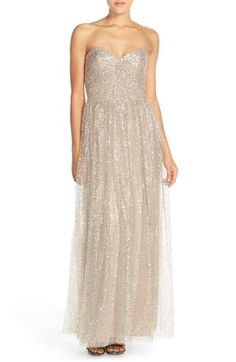 Main Image - Watters 'Betts' Sequin Tulle Column Gown with Removable Spaghetti Straps
