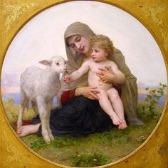 William Bouguereau/'s Virgin and the Lambs  Counted Cross Stitch Chart Pattern