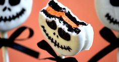 "Oreo skeleton pops - so easy! The kids will love them for dessert! Serve while watching ""The Nightmare Before Christmas""!"