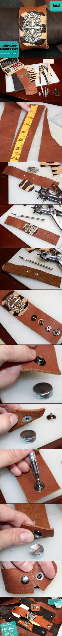 Leather Cuff Tutorial!  It's easier than you think!  Rings and Things has leather blanks, snaps, and setters.