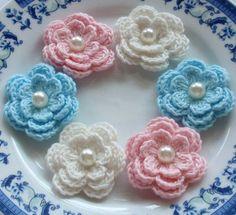 6 Crochet Flowers In Lt Pink Bubblemgum Pink by YHcrochet