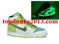 Wholesale Glow in the Dark White Green Radiant Green Premium High Top Nike Dunk Cheap