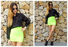 ♥ LOOK OF THE DAY 28-09-2012 ♥  ♥ Camisa Manga Larga de Gasa Negra  ♥ Mini Lycra Neon  ♥ Rockie Creepers