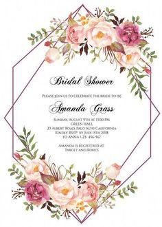 New boho floral bridal shower ideas Bridal Shower Invitation Wording, Floral Invitation, Floral Wedding Invitations, Invitation Templates, Bridal Shower Cards, Invites, Vintage Clipart, Chic Bridal Showers, Decoration