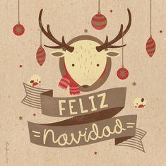 Feliz Navidad reindeer Christmas Card from Behance Merry Christmas Images Free, Merry Christmas Wishes, Noel Christmas, Christmas Quotes, Christmas Design, Christmas Themes, Vintage Christmas, Christmas Crafts, Christmas Decorations