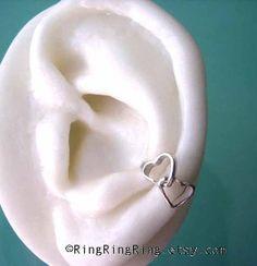 ear cuffs   Ear Cuff. Cute Double Heart design in Solid Sterling Silver. No ...