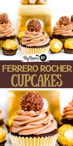 Then these Ferrero Rocher Cupcakes are going to be your new favorite dessert! Chocolat Ferrero Rocher, Ferrero Rocher Cupcakes, Ferrero Rocher Chocolates, Homemade Chocolate Cupcakes, Chocolate Recipes, Slow Cooker Recipes Dessert, Dessert Recipes, Mini Cakes, Cupcake Cakes