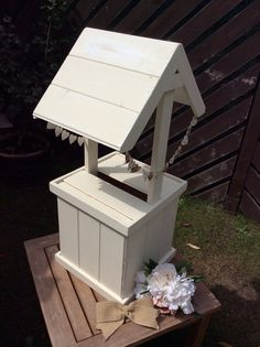Mini well holds 50+ cards Ideal christenings wedding parties £12 hire fee wooden wishing well heart bunting