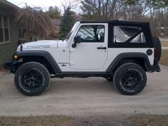 white 2 door jeep wrangler with black rims - Google Search
