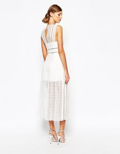 Image 2 of Self Portrait Sheer Check Midi Dress With Pleated Skirt