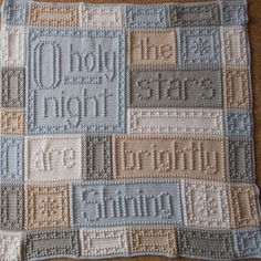 "This crocheted blanket will make the holidays warm and cozy. An original design, the blanket when finished reads, ""O, holy night the stars are brightly shining."""