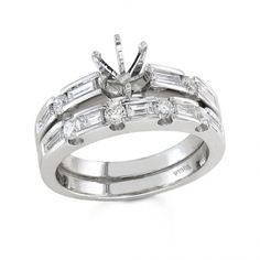 BF1331 - #23539  18 k white, Wedding Set. 0.32 ct rounds, 0.52 ct. Baguette (Please call for pricing)